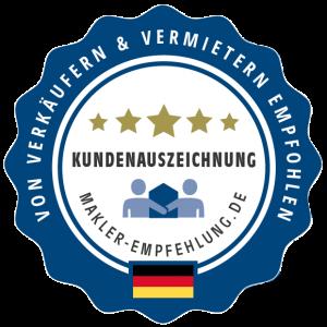 Nr. 1 in Stuttgart und der Region, Nr. 3 in Deutschland: Makler-Empfehlung.de Kundenauszeichnung 2021