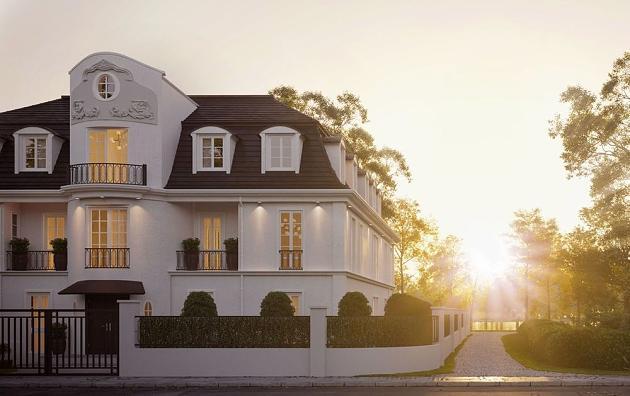 Immobilie im Sonnenuntergang